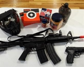 Stinger R34 spring powered assault BB gun and Airmag C11 gas cartridge BB pistol. Includes safety mask, 2 boxes of targets, gas cartridges and plastic/rubber BB's.