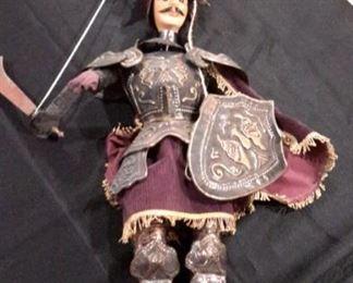 "Vintage Sicilian marionette ""Orlando"" by Salamanco Giuseppe, 17""."