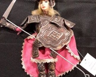 """Vintage Sicilian marionette """"Angelica"""" by Salamanco Giuseppe, with Italian """"Certificate of Warranty"""", approximately 7""""."""