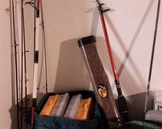 Fishing supplies and poles.