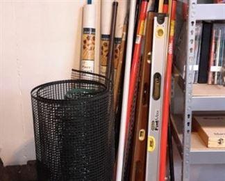 Levels, plastic fencing, extension poles, etc.