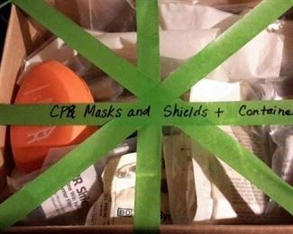 CPR masks, shields and containers.