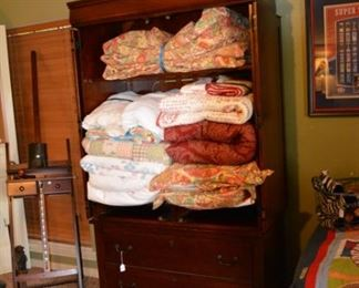Pottery Barn Duvets - Quilts - Comforters -TV Armoire - artist easel
