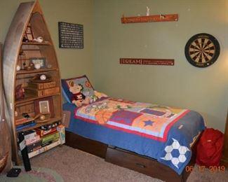 Boat Shelf - platform bed - decor books - games - sports memorabilia and decor