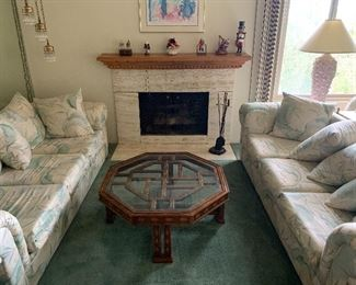 Living room couches and tables