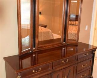 Stanley Dresser with Mirror Wood Tone with Black Accent