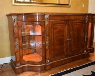 "Henredon Grand Provenance Walnut Sideboard. 1'10"" D X 6'3"" W X 37"" T. Lighted with Silver Organizer"