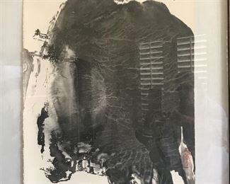 Important Chinese lithograph by Zhang Daqian.  Part of a series put out in 1973. #29/100