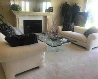 Beautiful Neutral living room and great coffee table.
