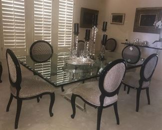 Amazing glass table and lucite base 10 chairs