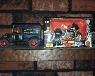 Car Bank & Harley Davidson Motorcycle
