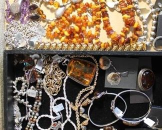 50% off sterling silver jewelry, many pieces with amber or amethyst.