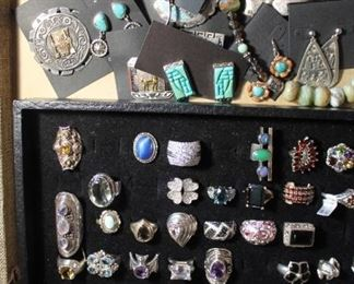 50% off jewelry - just added to the case! Vintage pins from Peru with sterling silver and gold. Also, sterling silver pieces from Mexico, Scottsdale AZ (Native American) and Desert Rose Trading. Also, sterling silver rings of all sorts with semi-precious stones, cubic zirconia and more.