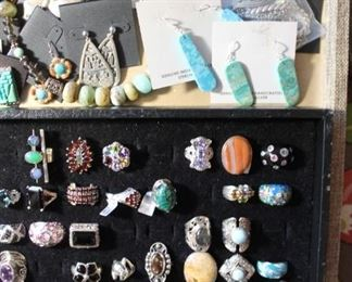 50% off jewelry - eclectic mix of pieces from vintage to newer. Handmade beaded necklace with genuine stones, designer earrings by Barse, designer necklace by Carolyn Pollack, Native American earrings and more. Also, sterling silver rings of all sorts with semi-precious stones, cubic zirconia and more.
