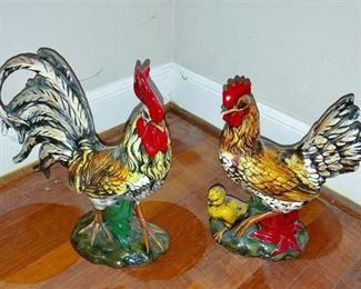 4. Vintage Pair Ceramic Rooster Hen Statues