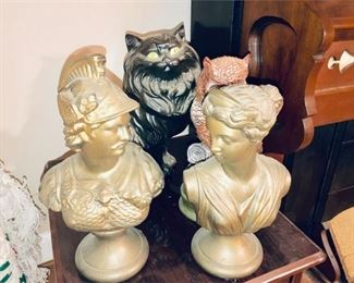 6. Lot Vintage Ceramic Busts Animal Statues