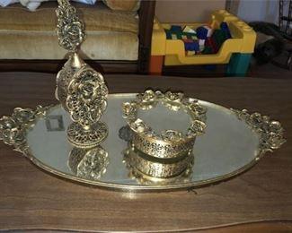 5. Vintage Hollywood Regency Style Mirrored Vanity Set