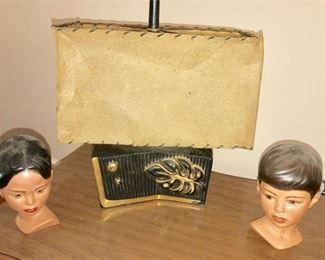 7. Retro 50s Table Lamp wPair Ceramic Children Busts