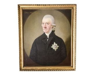 8. Large 18th Century Portrait Oil Painting of British Nobility