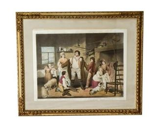 9. Large 18th Century Colored Engraving of Family Scene