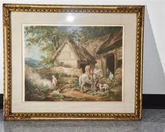 10. Gilt Framed Colored Print of 18th Century Cottage Scene