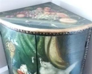 Ornate Corner Cabinet w/ Cats