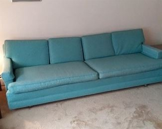 005 MidCentury Aqua and Beige Sofa
