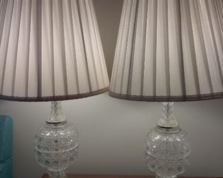 06 Classic Pair of Crystal Lamps with Silk Lamp Shades