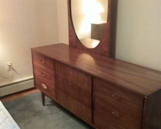 27 MidCentury NineDrawer Dresser and Mirror