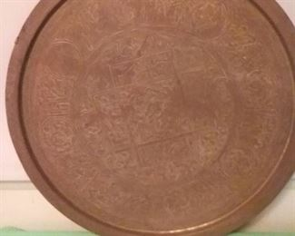 30 Vintage Engraved Round Brass Tray