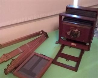 31 Antique Wooden Bellows Camera, Tripod and Kodak Printing Frame