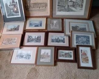 41 Assortment of Framed Prints of Landmarks in European Cities