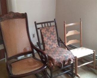 51 Three Vintage Rocking Chairs