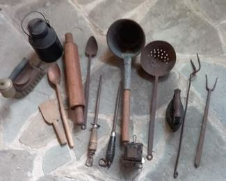 54 Antique Kitchen and Household Items