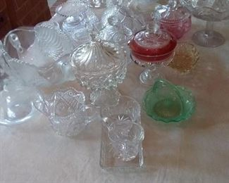 56 Large Assortment of Glass and Crystal Serving Pieces