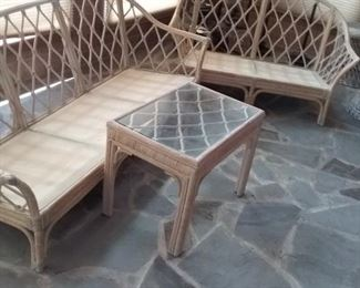66 Bamboo Sofa, Love Seat and Side Table