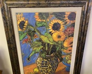 "Jae Dougall oil on canvas ""Sunflower"""
