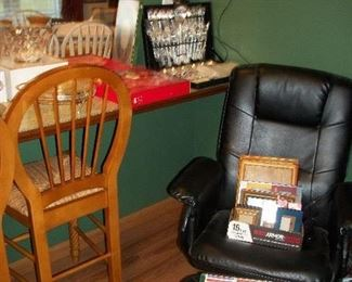 Wooden Bar Chairs (SOLD), Relax Zen Massage & Heat Chair, Silverware
