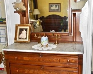 Eastlake Marble Topped Chest with Mirror