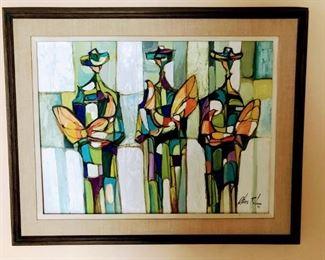 "Oliva Robain, Cuban, 20th Century, ""Three Cock Fighters"" 1970, Oil on canvas, 17""x21"""