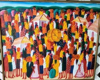 "Laurent Casimir (1928-1990), Haitian, 20th Century, ""The Market"", Oil on canvas, 20x23"