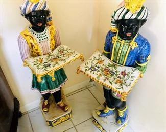 "Pair of Italian Majolica ""Blackamoor"" Figures Standing Holding Pillows, 20th Century, 43x11"""