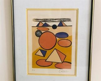 """Alexander Calder (1898-1976), American, 20th Century, """"Homage to the Pyramids, Lithograph, Numbered lower left """"EA"""" (Artists Proof) in pencil, 15x12"""""""
