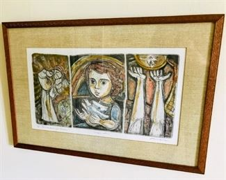 """Irving Amen (1918-2011) American, 20th Century, """"Invocation for Peace"""", Lithographic, 9 1/2x17"""""""