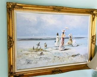 Marie Charlot French, 20th Century  Oil on Canvas Framed in Carved Giltwood, 24x36