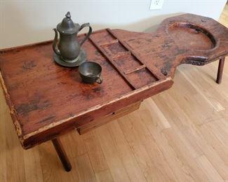 Antique coddler,  shoe repair shop  table