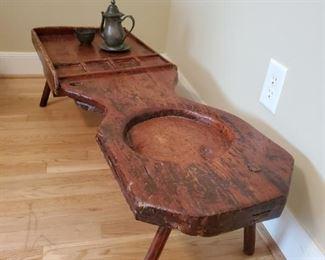 Antique coddler,  shoe repair table