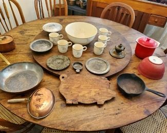 Great photo of the large 1800s all hand made Antique Lasy Susan top table