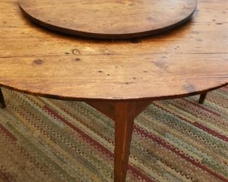 Fantastic  1800s all hand made heart pine  Lasy Susan top table.  Unique and Rare
