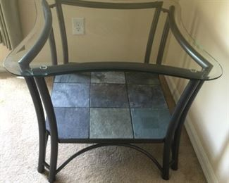 Glass-topped, Slate bottomed End Table